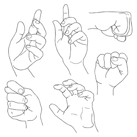 plea: Hands set outline part 5. Fico, claw, fist, plea, up and others Lineart EPS10