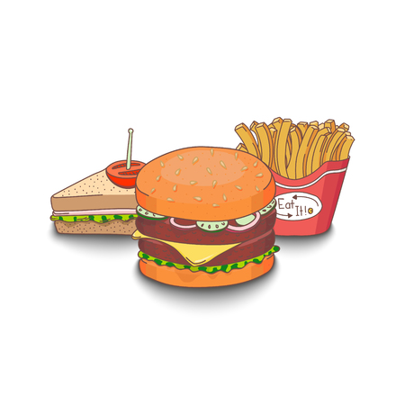 Set of cartoon fast-food meal colored with shadows . Hamburger, sandwich and fries. EPS10