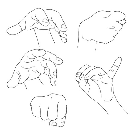fico: Hands set outline part 6. Fist, fico, pinch and others. EPS10 lineart Illustration