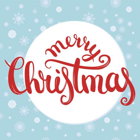 Merry christmas brush belettering met sneeuwvlokken naadloze textuur op achtergrond. Briefkaart, print, t-shirt, wenskaart. EPS10