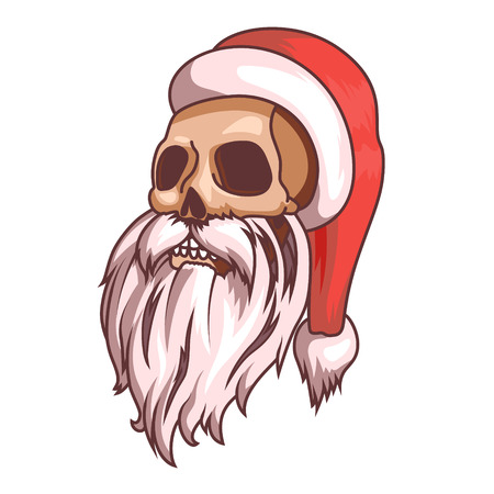 Santa claus emotions. Part of christmas set. Dead, skull. Ready for print. EPS10