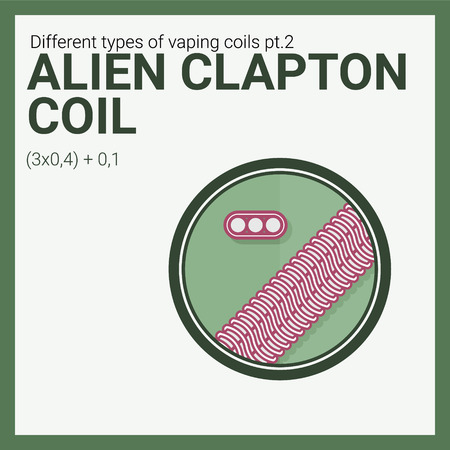 Vector illustration vaping coil. Part of big set. Alien clapton.