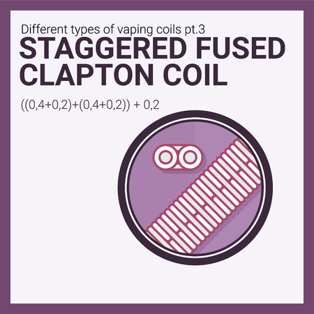 Vector illustration vaping coil. Part of big set. Staggered fused clapton.