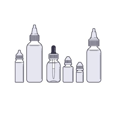 eliquid: Vaping vector set. Vape juices outline on white background.