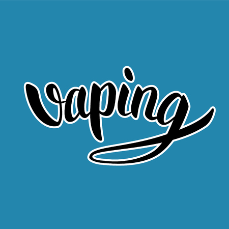 custom letters: Vaping hand-drawn lettering black with white outline on blue background Illustration