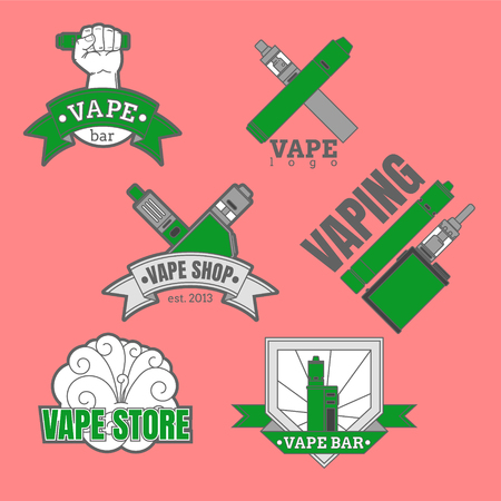 logotypes: Set of different vaping logotypes colored on pink background