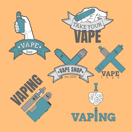 Set of different vaping logotypes colored on orange background