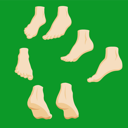 Set of cartoon-style girl foots in different positions Illustration