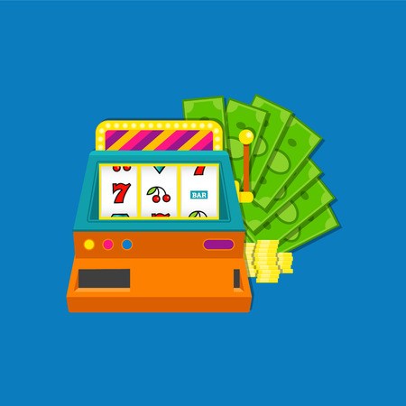 Slot machine flat vector illustration with bundle of cash aid coins. Colored on blue background.