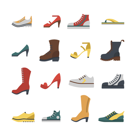 Set of flat-style shoes colored isolated.