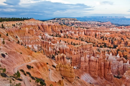 beautiful landscape in Bryce Canyon with magnificent Stone formation like Amphitheater, temples, figures in afternoon light photo