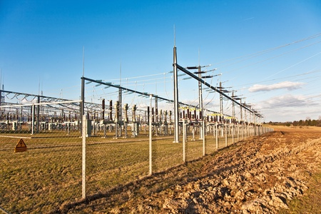 electricity relay station with high-voltage insulator and power lines Stock Photo - 9172420
