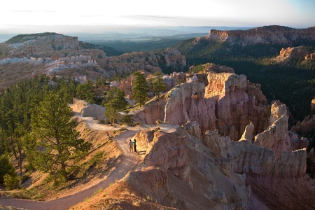 walking path in beautiful landscape in Bryce Canyon with magnificent Stone formation photo