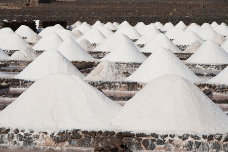 rock salt: Salt will be produced in the old historic saline in Janubio, Lanzarote Stock Photo