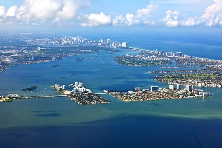 aerial oftown and beach of Miami Stock Photo