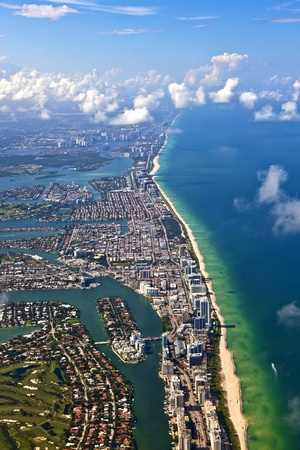 aerial view city: aerial oftown and beach of Miami Stock Photo