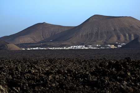 flatland: volcanic landscape in national park Timanfaya in Lanzarote, Spain Stock Photo