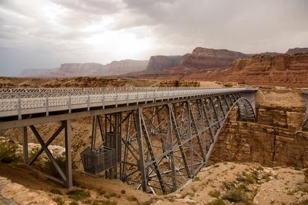 Navajo Bridge spanning the Colorado at Marble Canyon Stock Photo