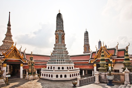 famous Prangs in the Grand Palace in Bangkok in the temple area of the emerald buddha photo