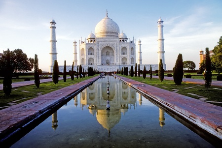monument in india: White marble Taj Mahal in India, Agra, Uttar Pradesh Stock Photo