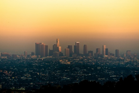 sunset in Los Angeles seen from Griffith Park