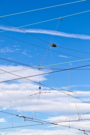 catenary for train with blue sky photo