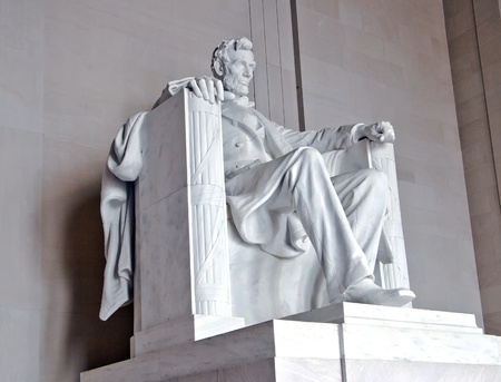 abraham lincoln: Statue of Abraham Lincoln at the Lincoln Memorial, Washington DC Stock Photo