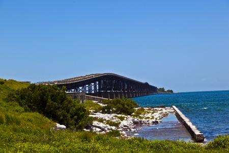 old rotten bridge near Bahia Honda State park photo