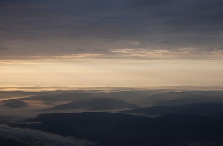 hessen: sunrise over the muntains in Hessen,Germany by approaching Frankfurt airport