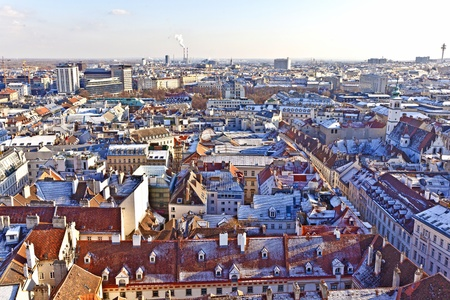 view over Vienna in snow with clear sky Stock Photo - 9210418