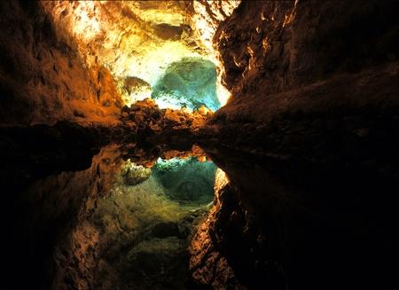 clinker: Cueva de Los Verdes in Lanzarote, Spain Stock Photo