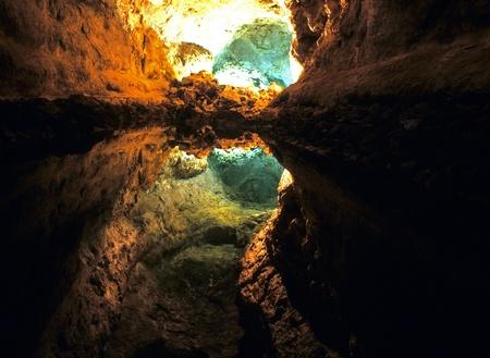 lanzarote: Cueva de Los Verdes in Lanzarote, Spain Stock Photo