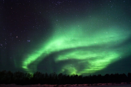 Northern lights (aurora borealis) display near Kaamanen, Finland Stock Photo - 9221882