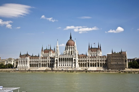 famous parliament of Hungary in Budapest, view over river danubia