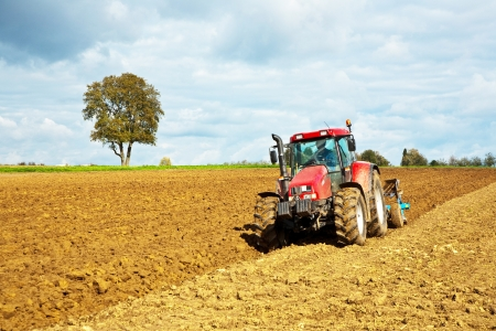 plowing: tractor with plow on field in bad weather