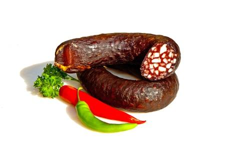 Handgemachte köstliche Würste von Butcher mit traditionellen Rezept