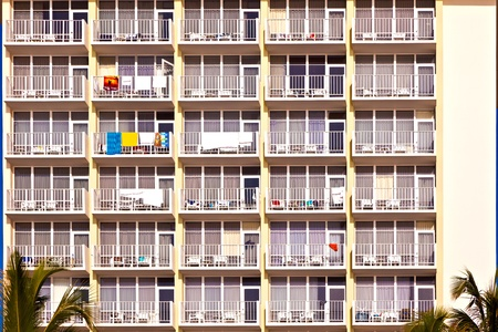 balconies of scyscrapers  at beautiful Sunny Islands, Miami in morning sun photo