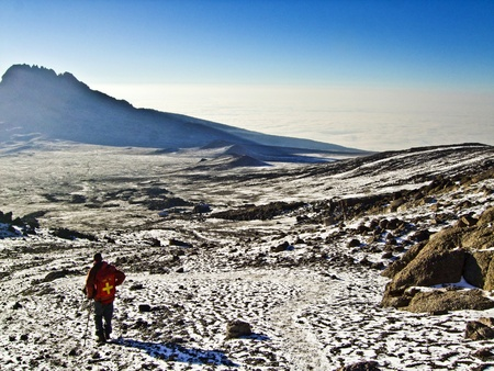 kilimanjaro: Mount Kilimanjaro, the highest mountain in Africa (5892m), seen through the crops. Stock Photo