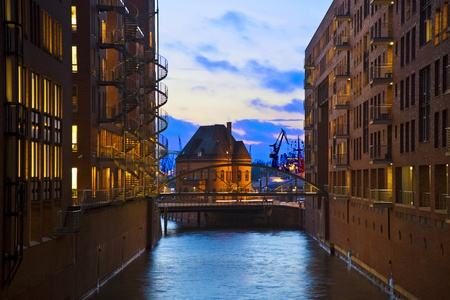 freeport: historic Speicherstadt at night in Hamburg