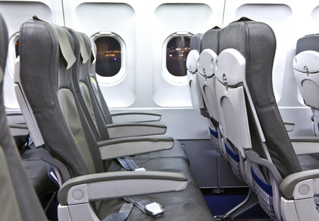 empty seats in the aircraft  early morning photo