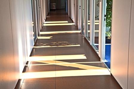 empty Office aisle with sun photo