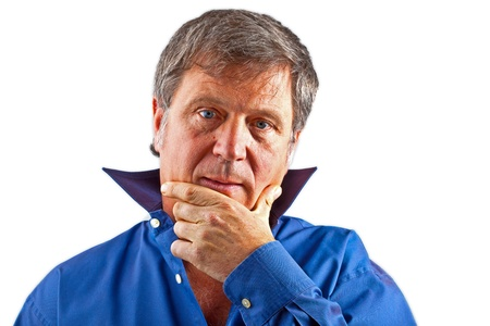 portrait of serious looking man with hand gesture Stock Photo - 9219267