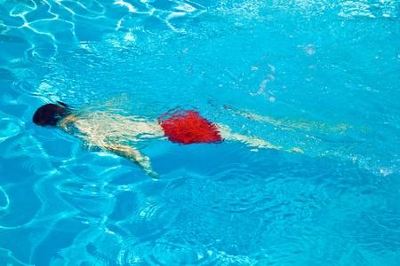child has fun in the pool photo