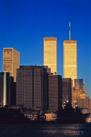twin towers in New York in sunset photo