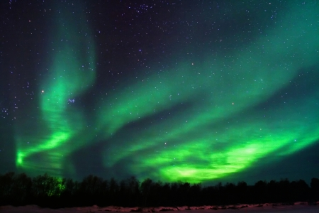 Northern lights (aurora borealis) display near Kaamanen, Finland Imagens