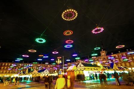 illumination in Madrids Christmas market at the Plaza major photo