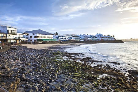 blanca: promenade of scenic Playa Blanca with seaside in the morning