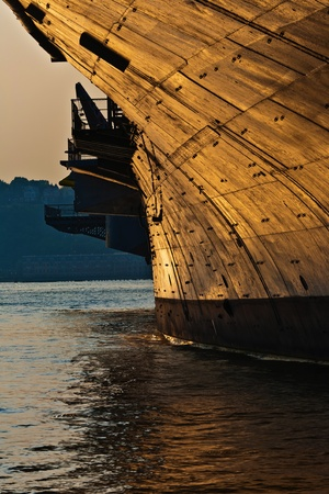 detail of aircraft carrier in sunset photo