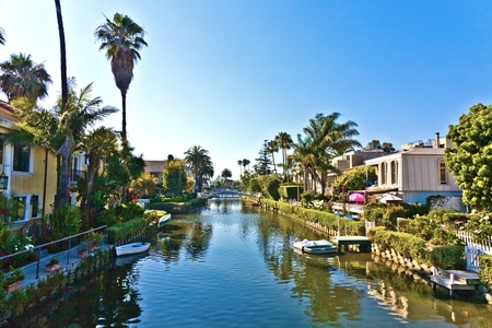 abbot: old canals of Venice, build by Abbot Kinney in California, beautiful living area Stock Photo
