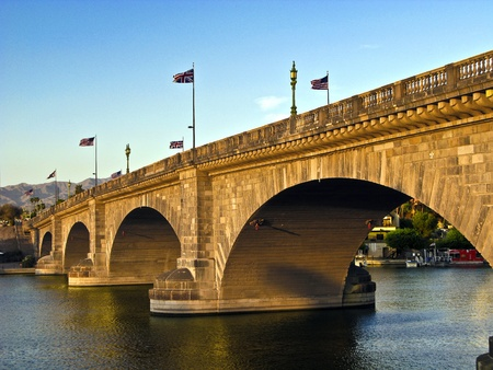 rebuilt: London Bridge in Lake Havasu, old historic bridge rebuilt with original stones in America Stock Photo